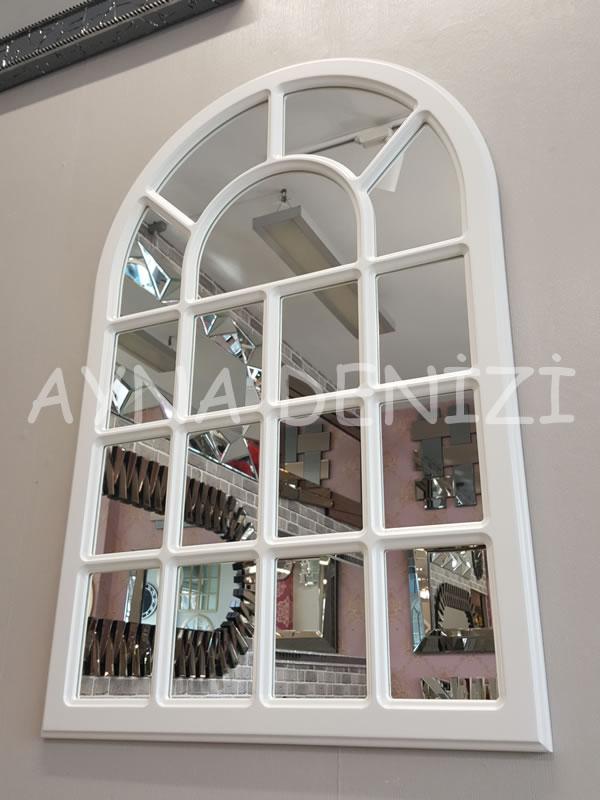 Ancona Model Beyaz Renk Dekoratif Pencere Ayna-6