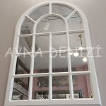 Ancona Model Beyaz Renk Dekoratif Pencere Ayna-7