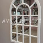 Ancona Model Beyaz Renk Dekoratif Pencere Ayna-9