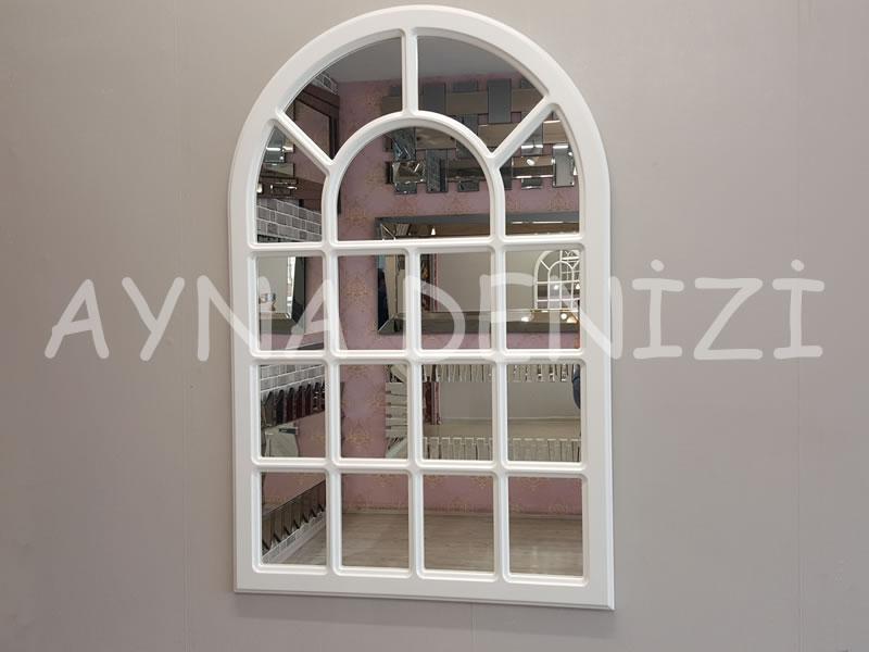 Ancona Model Beyaz Renk Dekoratif Pencere Ayna