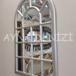 Ancona Model Gümüş Renk Dekoratif Pencere Ayna-10
