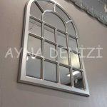 Ancona Model Gümüş Renk Dekoratif Pencere Ayna-11
