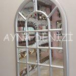 Ancona Model Gümüş Renk Dekoratif Pencere Ayna-13