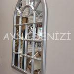 Ancona Model Gümüş Renk Dekoratif Pencere Ayna-14