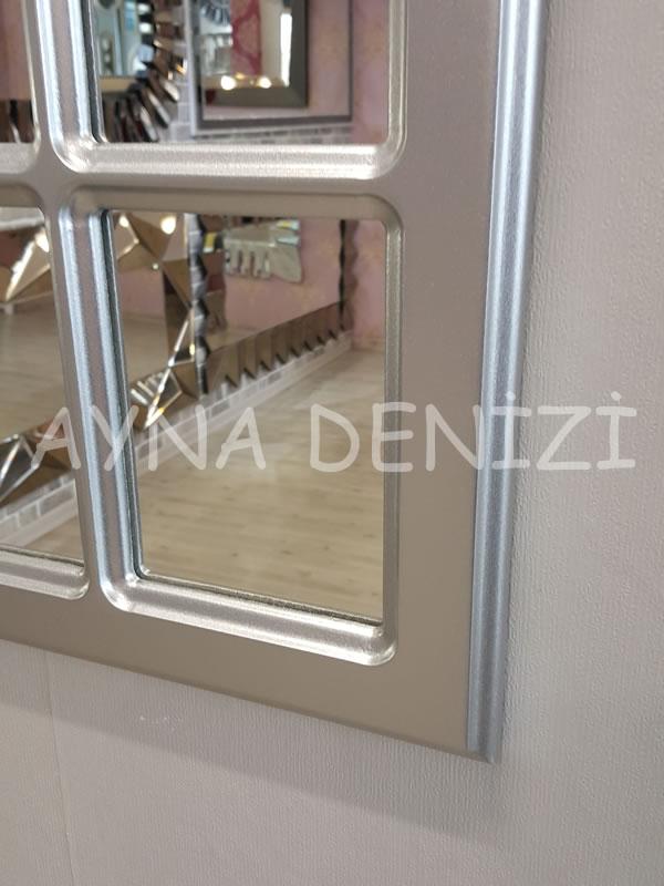 Ancona Model Gümüş Renk Dekoratif Pencere Ayna-17