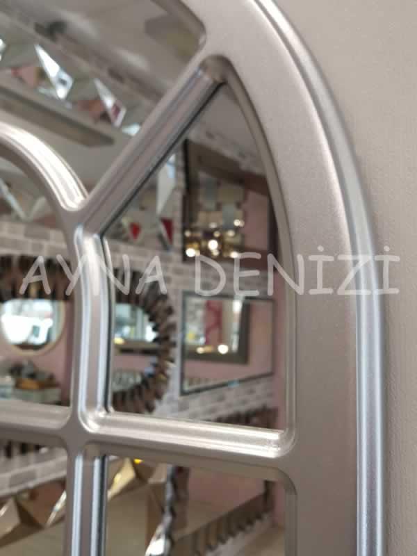 Ancona Model Gümüş Renk Dekoratif Pencere Ayna-18