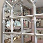 Ancona Model Gümüş Renk Dekoratif Pencere Ayna-19