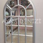 Ancona Model Gümüş Renk Dekoratif Pencere Ayna-2