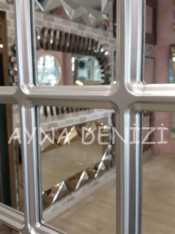 Ancona Model Gümüş Renk Dekoratif Pencere Ayna-20