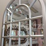 Ancona Model Gümüş Renk Dekoratif Pencere Ayna-23