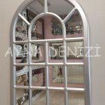 Ancona Model Gümüş Renk Dekoratif Pencere Ayna-3