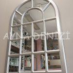 Ancona Model Gümüş Renk Dekoratif Pencere Ayna-4