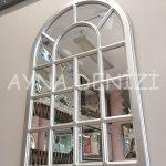 Ancona Model Gümüş Renk Dekoratif Pencere Ayna-5