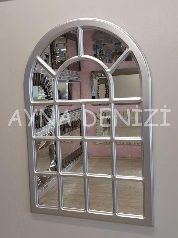 Ancona Model Gümüş Renk Dekoratif Pencere Ayna-6