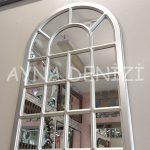 Ancona Model Gümüş Renk Dekoratif Pencere Ayna-7