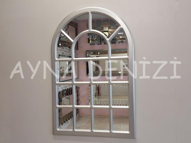 Ancona Model Gümüş Renk Dekoratif Pencere Ayna