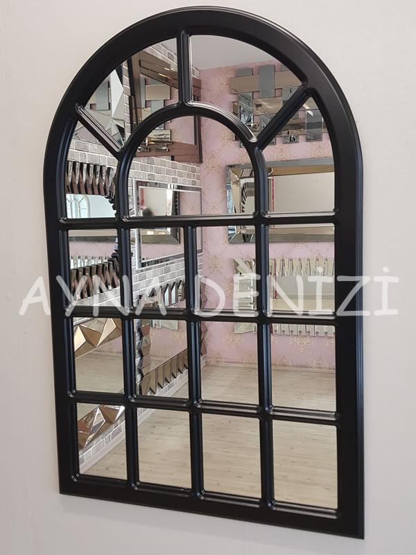 Ancona Model Siyah Renk Dekoratif Pencere Ayna-13