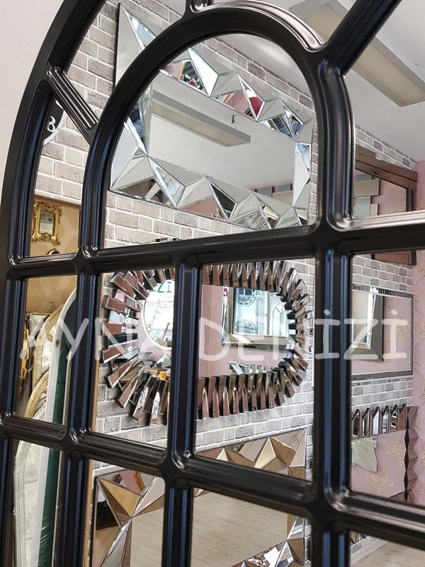 Ancona Model Siyah Renk Dekoratif Pencere Ayna-17