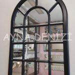 Ancona Model Siyah Renk Dekoratif Pencere Ayna-3
