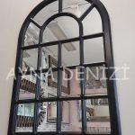 Ancona Model Siyah Renk Dekoratif Pencere Ayna-6