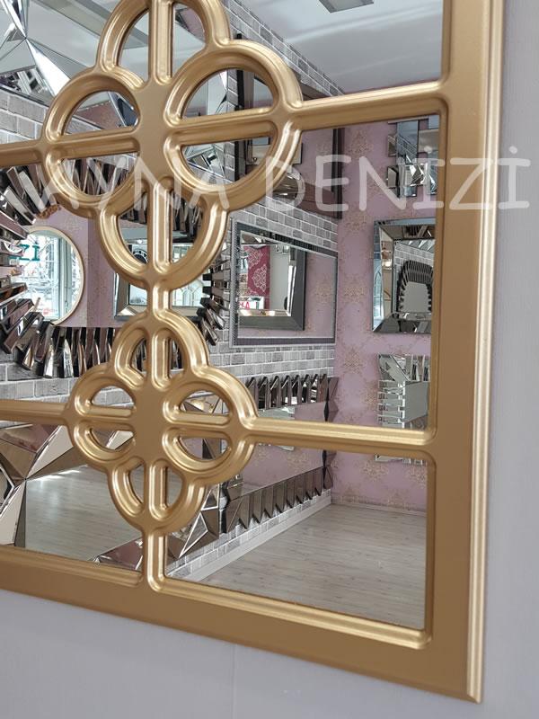 Jerez Model Altın Renk Dekoratif Pencere Ayna-20