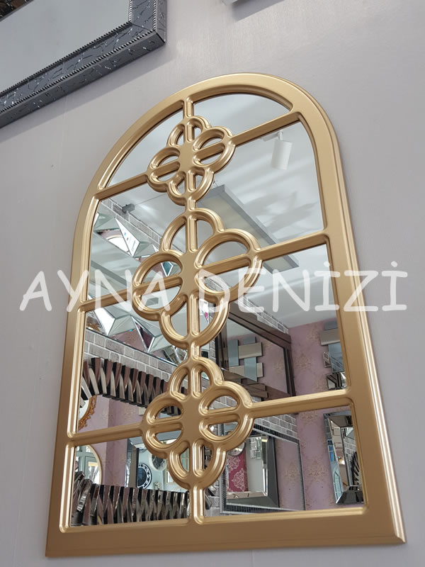 Jerez Model Altın Renk Dekoratif Pencere Ayna-7