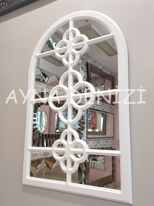 Jerez Model Beyaz Renk Dekoratif Pencere Ayna-11