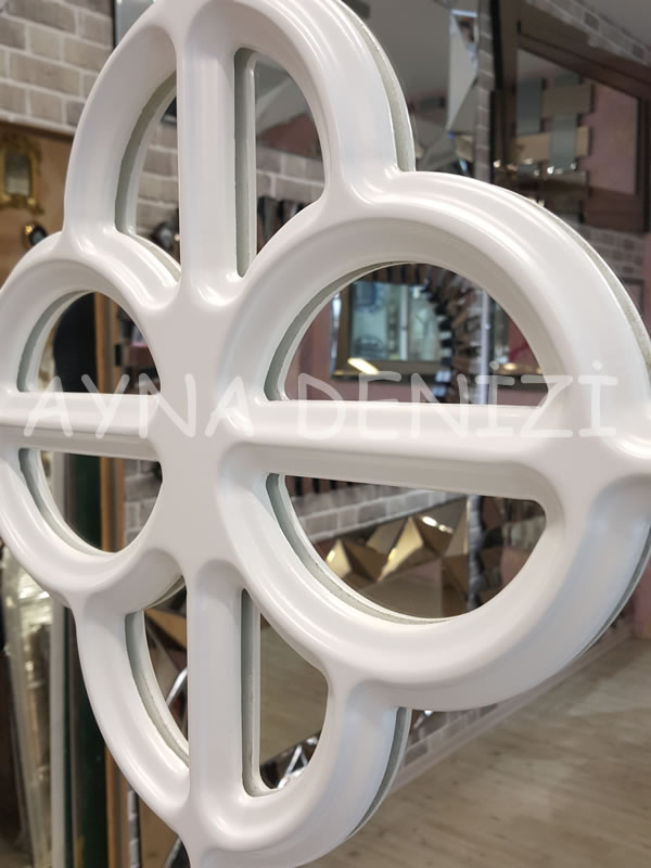 Jerez Model Beyaz Renk Dekoratif Pencere Ayna-16