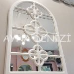 Jerez Model Beyaz Renk Dekoratif Pencere Ayna-5