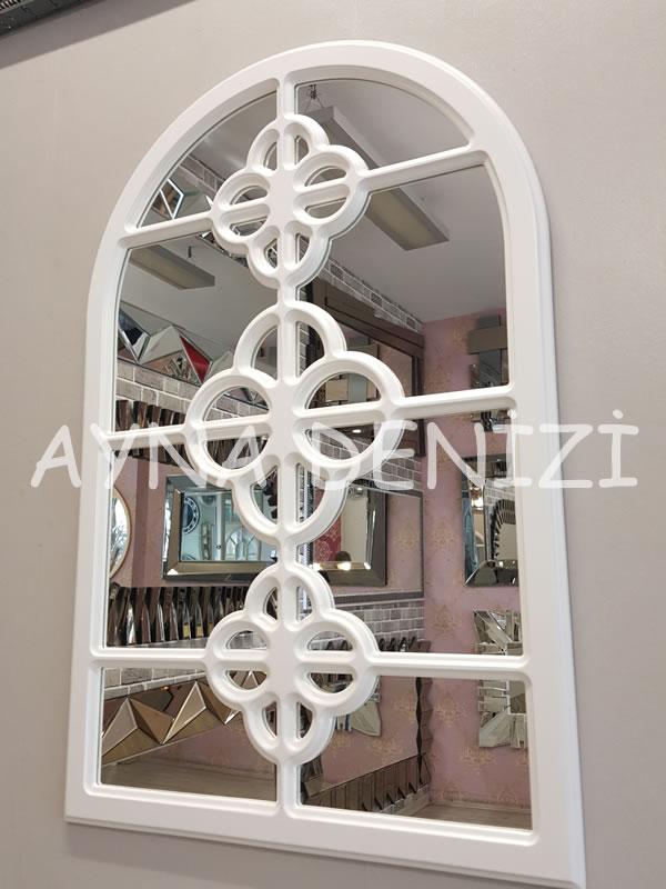 Jerez Model Beyaz Renk Dekoratif Pencere Ayna-6