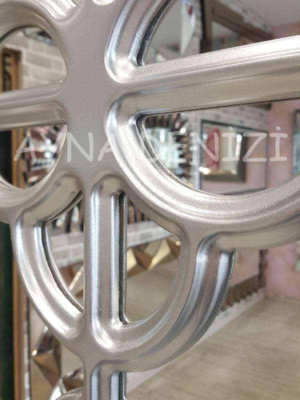 Jerez Model Gümüş Renk Dekoratif Pencere Ayna-14