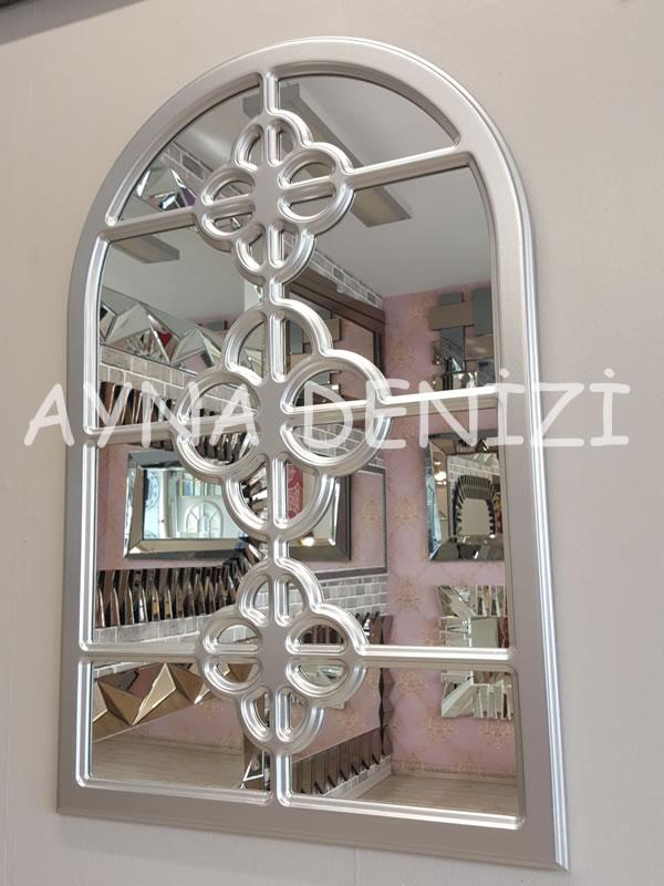 Jerez Model Gümüş Renk Dekoratif Pencere Ayna-3