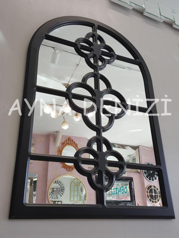 Jerez Model Siyah Renk Dekoratif Pencere Ayna-9