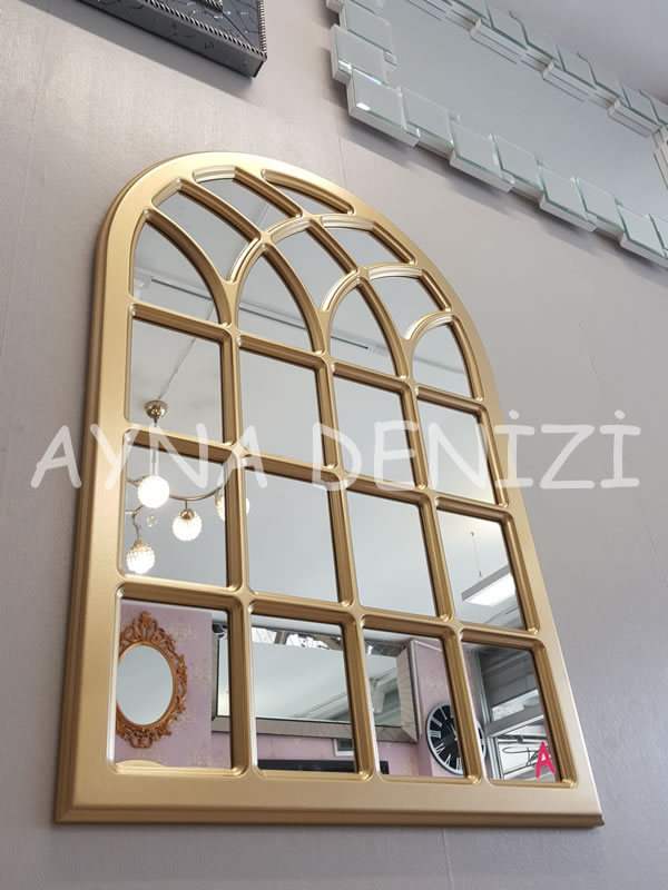 Messina Model Altın Renk Dekoratif Pencere Ayna-10