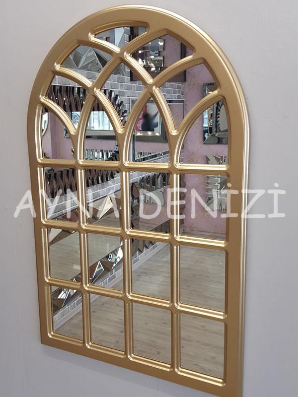 Messina Model Altın Renk Dekoratif Pencere Ayna-13