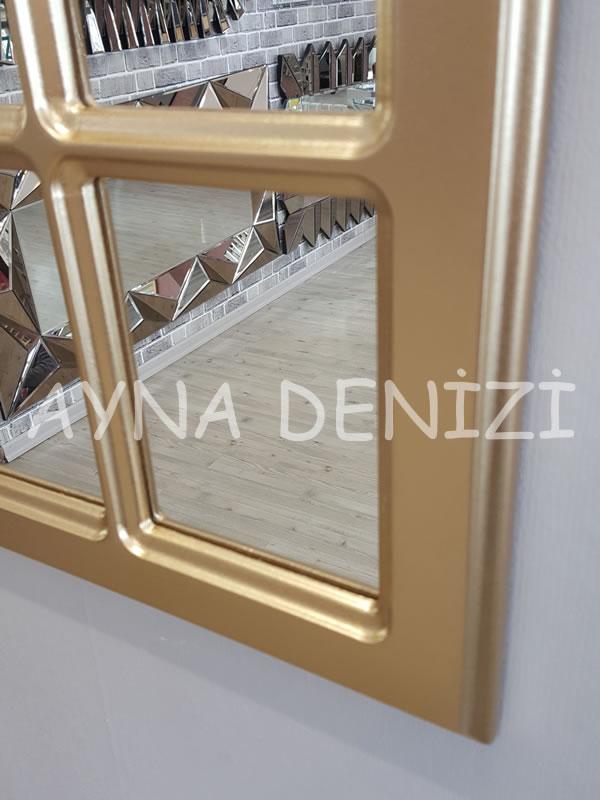 Messina Model Altın Renk Dekoratif Pencere Ayna-14