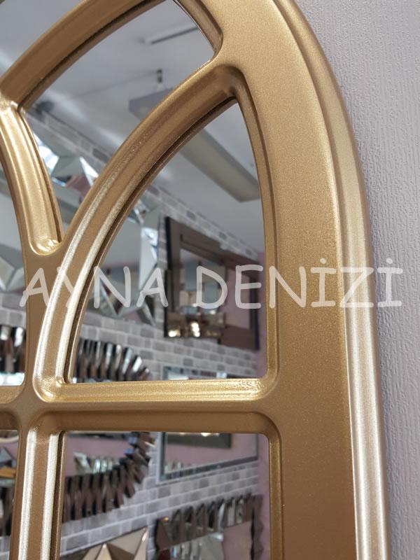 Messina Model Altın Renk Dekoratif Pencere Ayna-19