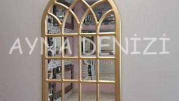 Messina Model Altın Renk Dekoratif Pencere Ayna