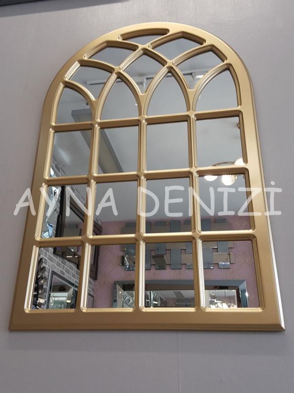 Messina Model Altın Renk Dekoratif Pencere Ayna-9