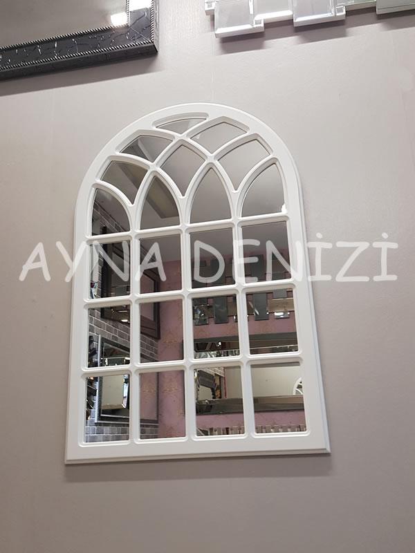 Messina Model Beyaz Renk Dekoratif Pencere Ayna-10