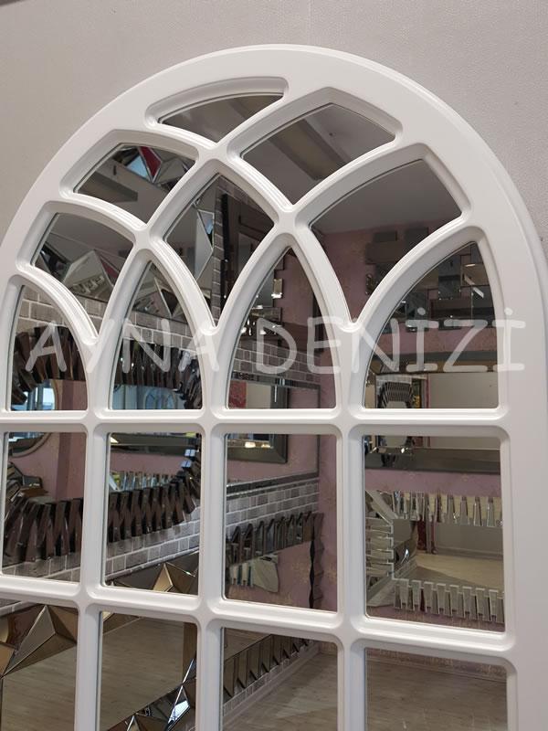 Messina Model Beyaz Renk Dekoratif Pencere Ayna-14