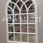 Messina Model Beyaz Renk Dekoratif Pencere Ayna-2