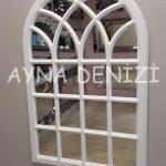 Messina Model Beyaz Renk Dekoratif Pencere Ayna-4