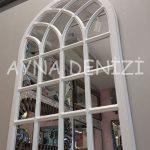 Messina Model Beyaz Renk Dekoratif Pencere Ayna-6