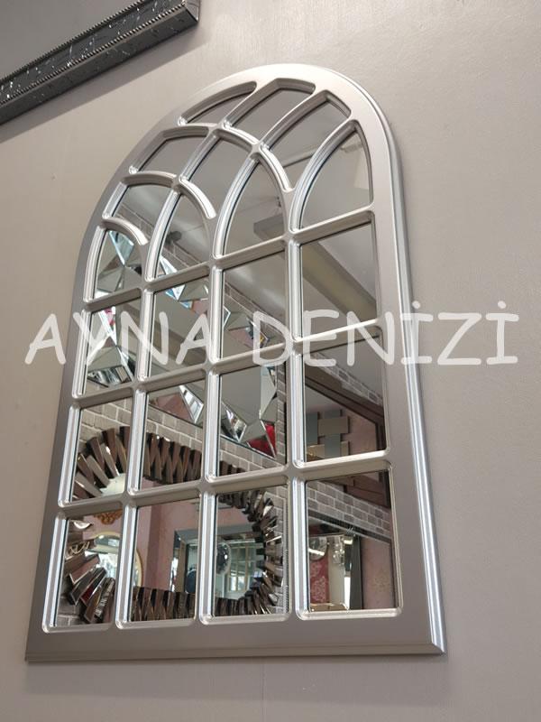 Messina Model Gümüş Renk Dekoratif Pencere Ayna-10