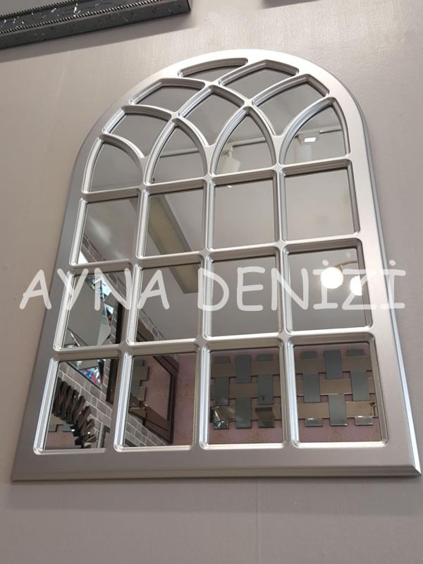Messina Model Gümüş Renk Dekoratif Pencere Ayna-12