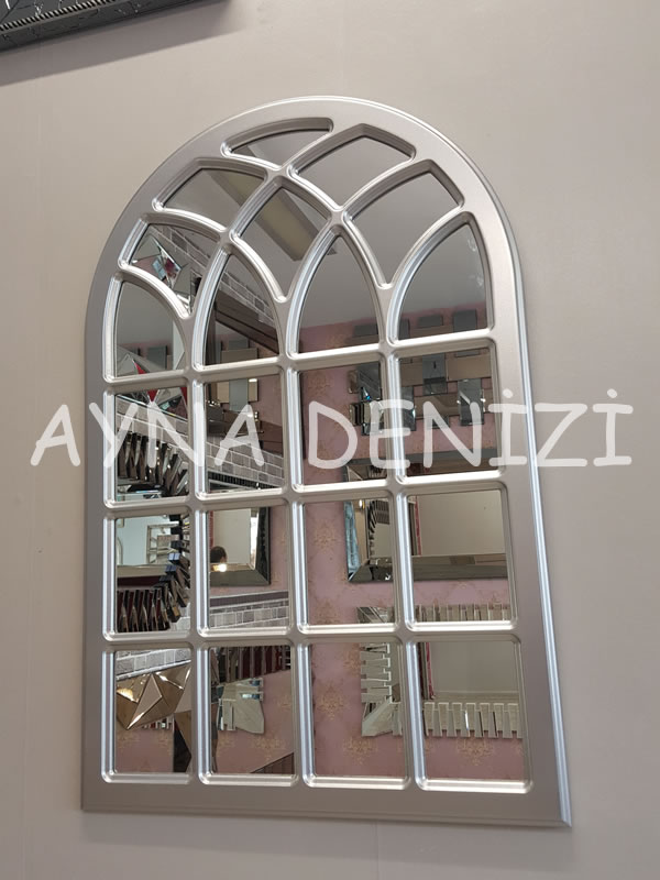 Messina Model Gümüş Renk Dekoratif Pencere Ayna-13
