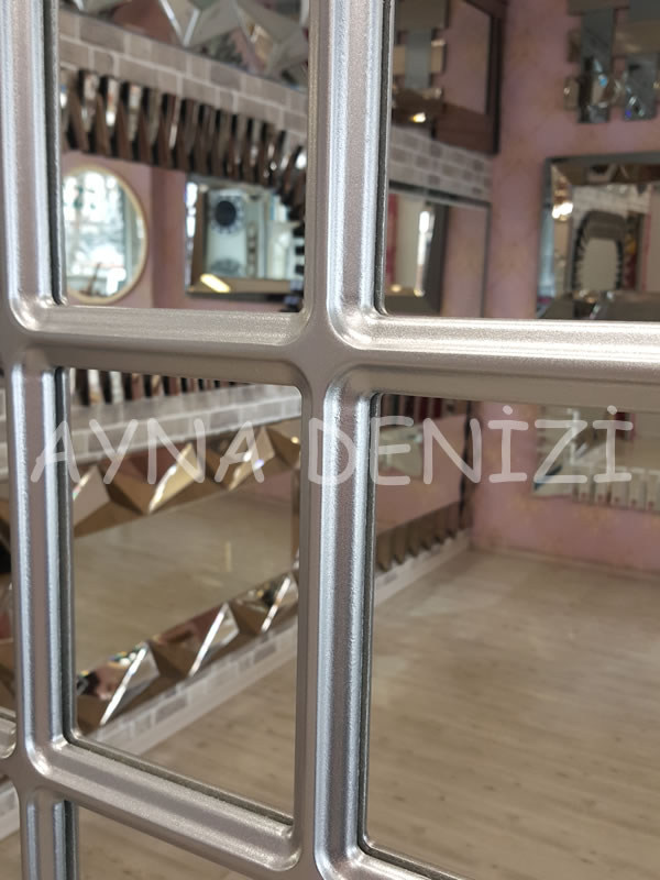 Messina Model Gümüş Renk Dekoratif Pencere Ayna-14