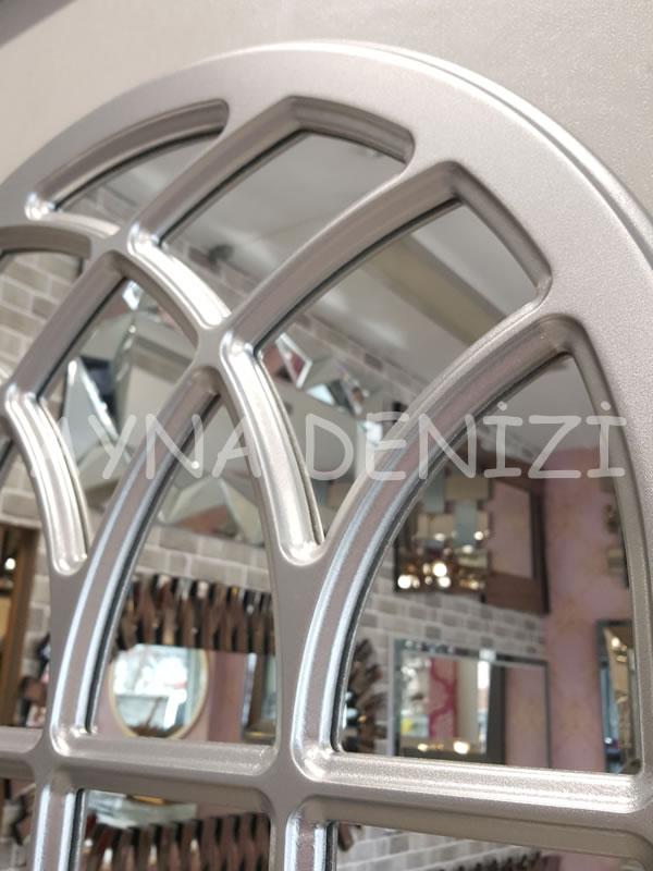 Messina Model Gümüş Renk Dekoratif Pencere Ayna-16