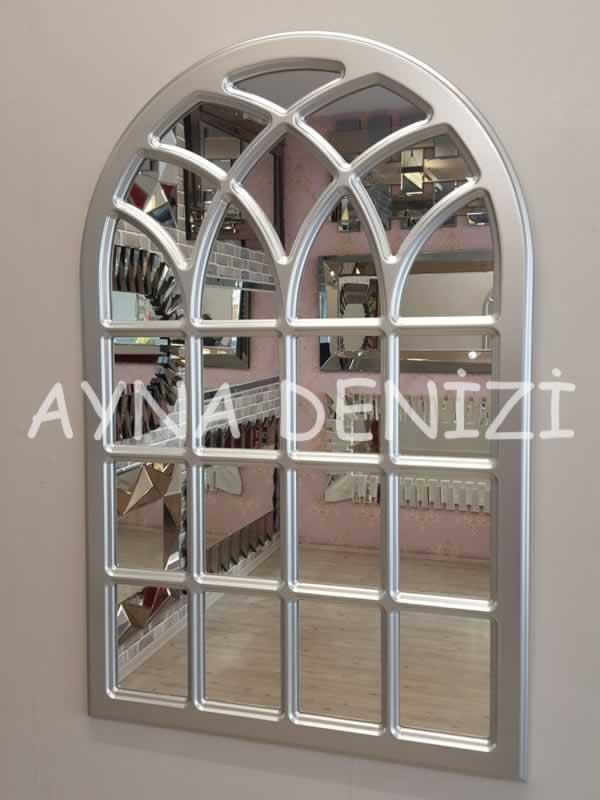 Messina Model Gümüş Renk Dekoratif Pencere Ayna-2